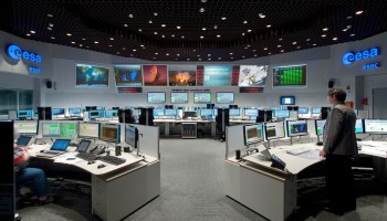 ESOC serves as the Operations Control Centre for ESA missions, and hosts our Main Control Room. Credit: ESA/J. Mai