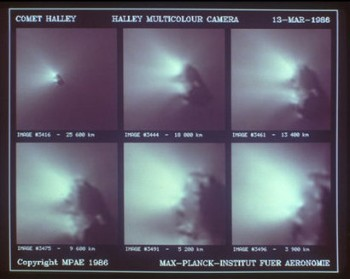 Images of Halley taken during Giotto's encounter. Credits: MPAE/H.U. Keller