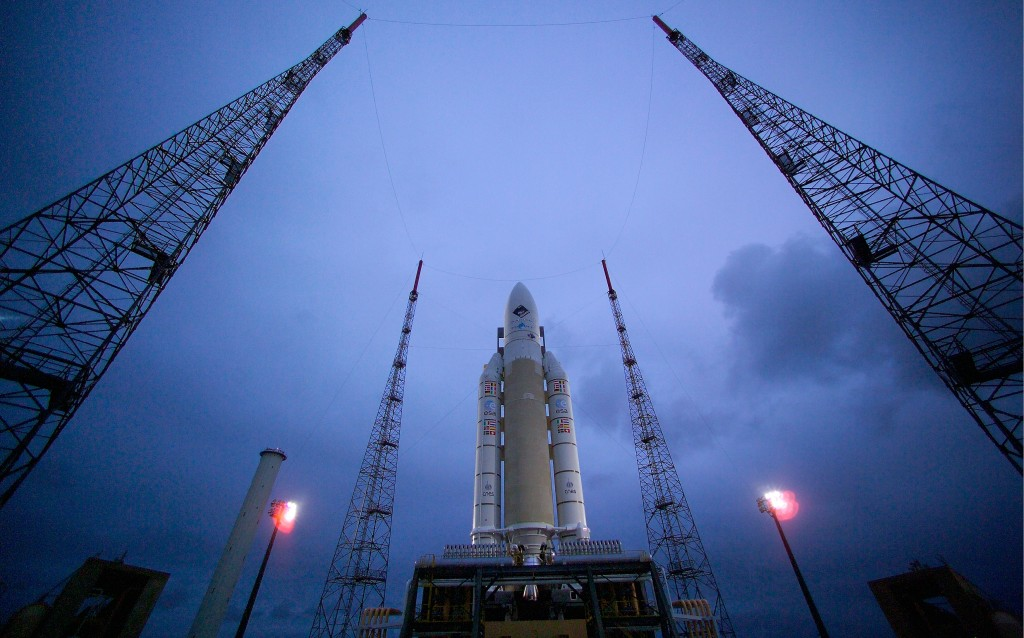 Rosetta's Ariane 5 ready to loft the comet-chaser into orbit in 2004. Credit: ESA/CNES/Arianespace - S. Corvaja