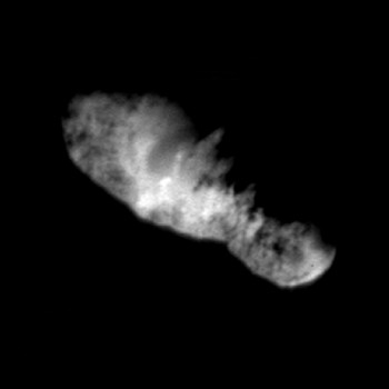 Comet Borrelly, by NASA's Deep Space 1, from a distance of 3417 km. The nucleus is about 8 km long.