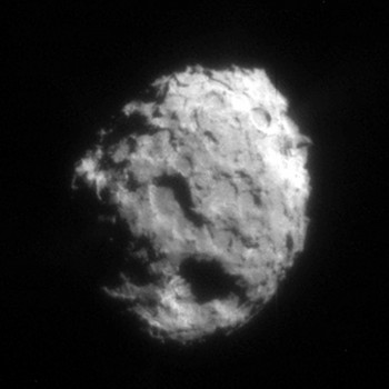 Comet Wild-2 by NASA's Stardust mission in 2004, from a distance of 500 km. Wild-2's nucleus is about 5 km across.
