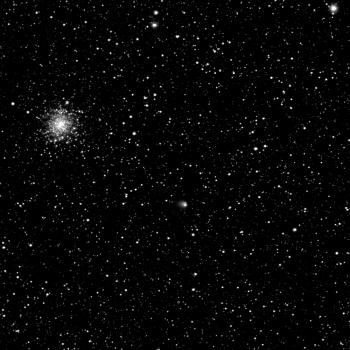 Comet 67P/Churyumov–Gerasimenko on 30 April, with the globular cluster M107 also clearly visible.  Credit: ESA/Rosetta/MPS for OSIRIS Team MPS/UPD/LAM/IAA/SSO/INTA/UPM/DASP/IDA