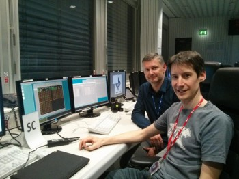 Mark Bentley and Harald Jeszenszky at ESOC during the MIDAS commissioning