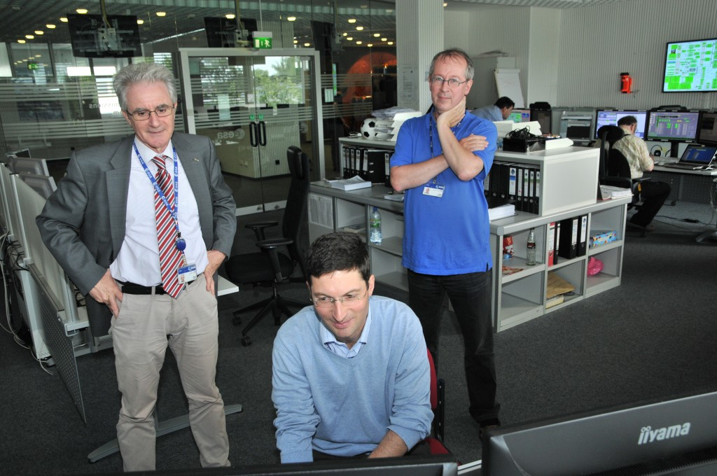 ESA Head of Operations, Paolo Ferri (L), Rosetta mission manager Fred Jansen (R) and Rosetta spacecraft operations manager Sylvain Lodiot (sitting) watching carefully as the 21 May #BigBurn progresses. Credit: ESA