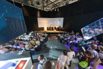 Gerhard Schwehm, Cometary scientist, ESA, gives an overview of the Rosetta mission at the 'Space for Earth' space pavilion at ILA, the Berlin Air and Space Show, on 24 May 2014. Credit: ESA–M. Pedoussaut