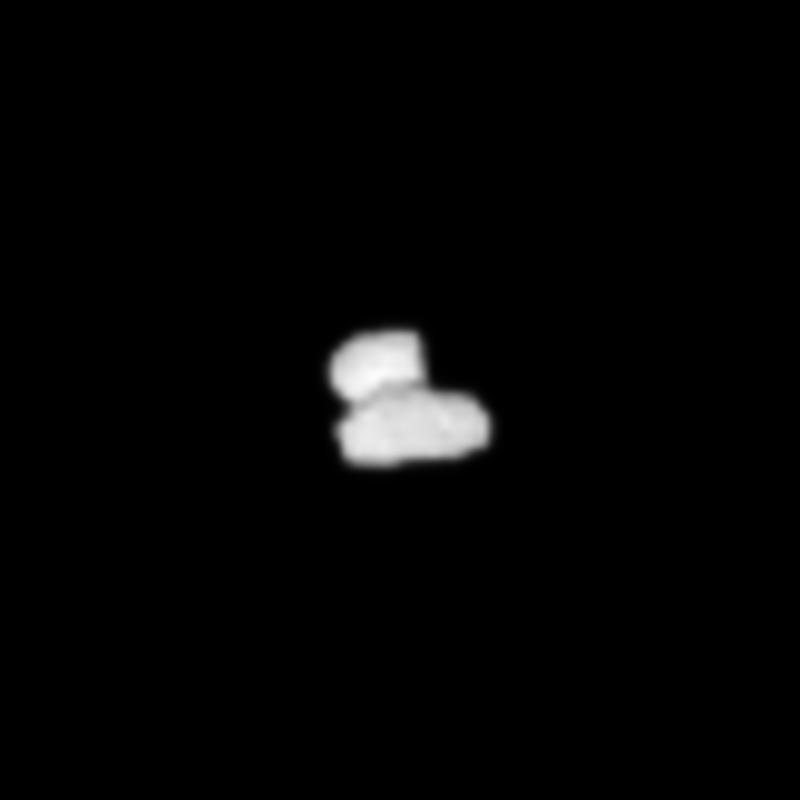 Crop from the 25 July processed image of comet 67P/Churyumov-Gerasimenko, to focus on the comet nucleus. Credits: ESA/Rosetta/NAVCAM