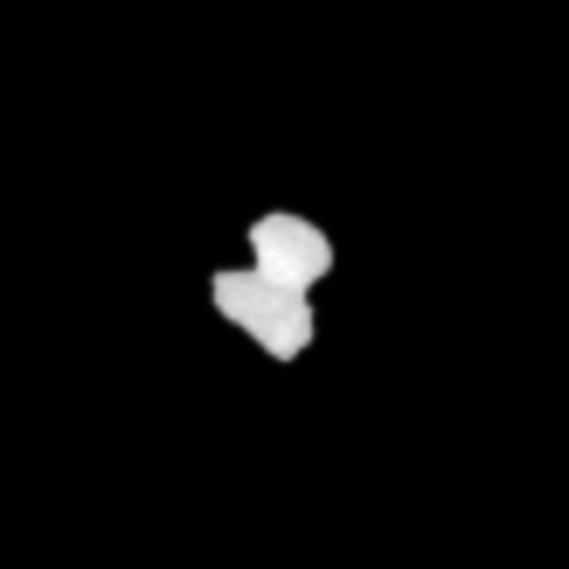 Crop from the 27 July processed image of comet 67P/Churyumov-Gerasimenko, to focus on the comet nucleus. Credits: ESA/Rosetta/NAVCAM