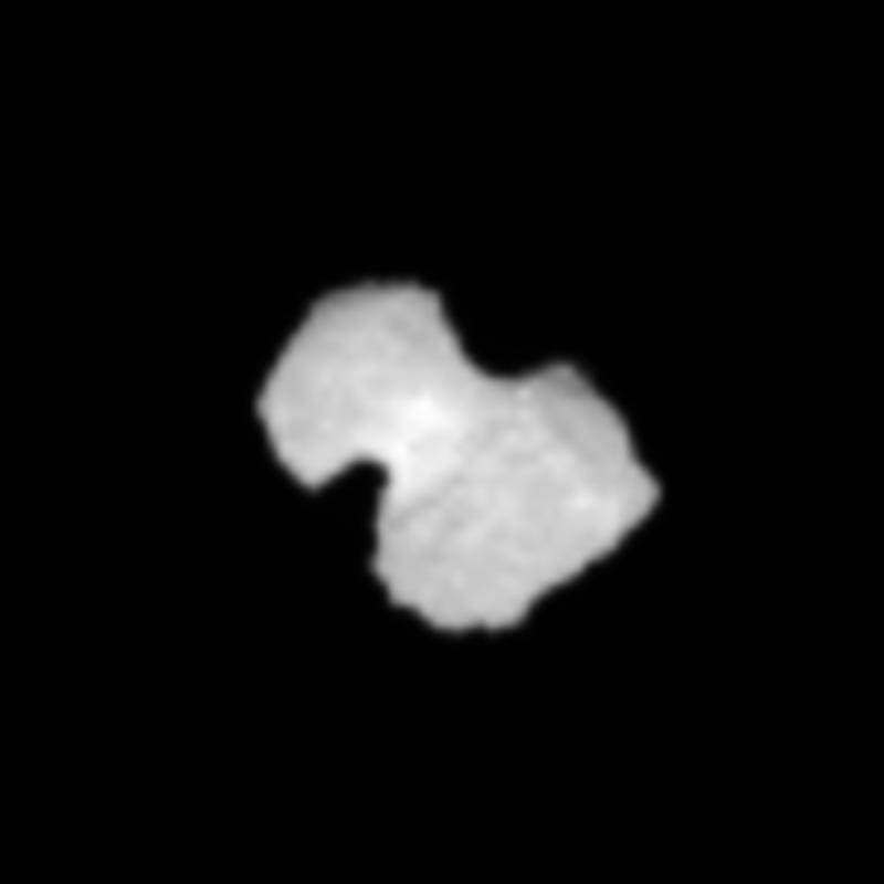 Crop from the 30July processed image of comet 67P/Churyumov-Gerasimenko, to focus on the comet nucleus. Credits: ESA/Rosetta/NAVCAM