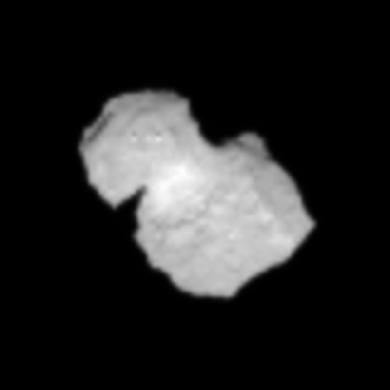 Crop from the 31 July processed image of comet 67P/Churyumov-Gerasimenko, to focus on the comet nucleus. Credits: ESA/Rosetta/NAVCAM
