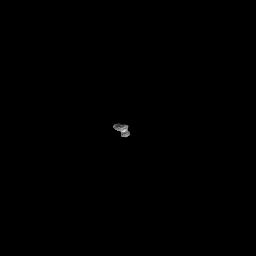 Full-frame NAVCAM image taken on 1 August 2014 from a distance of about 1026 km from comet 67P/Churyumov-Gerasimenko. Credits: ESA/Rosetta/NAVCAM