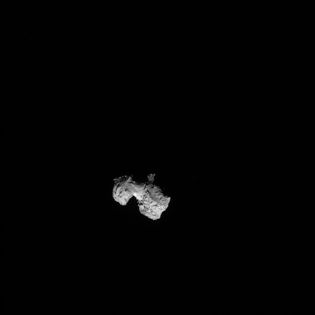 Full-frame NAVCAM image taken on 3 August 2014 from a distance of about 300 km from comet 67P/Churyumov-Gerasimenko. Credits: ESA/Rosetta/NAVCAM