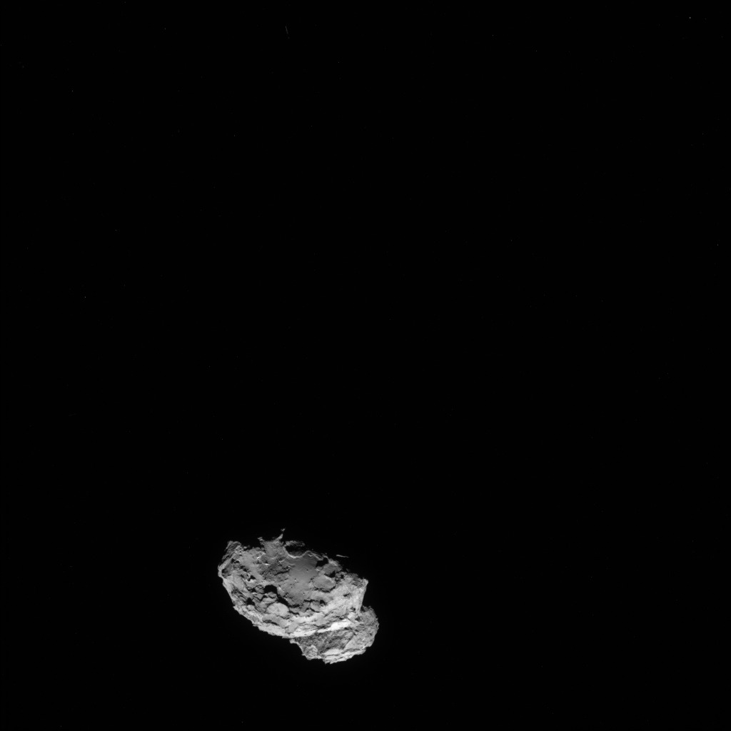 Full-frame NAVCAM image taken on 4 August 2014 from a distance of about 234 km from comet 67P/Churyumov-Gerasimenko. Credits: ESA/Rosetta/NAVCAM