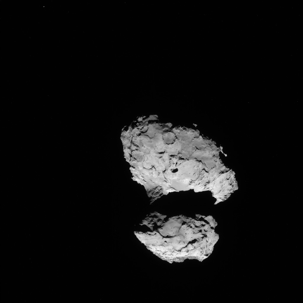 Full-frame NAVCAM image taken on 10 August 2014 from a distance of about 110 km from comet 67P/Churyumov-Gerasimenko. Credits: ESA/Rosetta/NAVCAM
