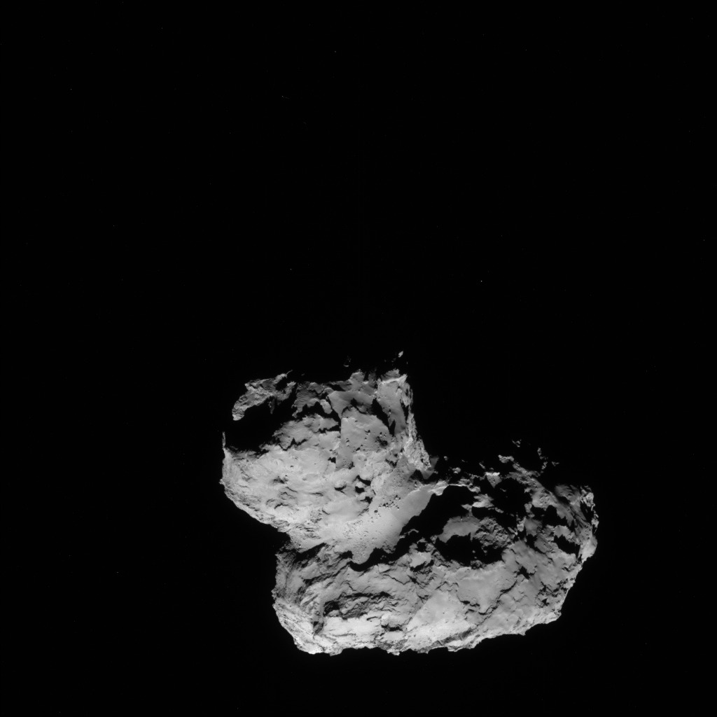 Full-frame NAVCAM image taken on 11 August 2014 from a distance of about 102 km from comet 67P/Churyumov-Gerasimenko. Credits: ESA/Rosetta/NAVCAM