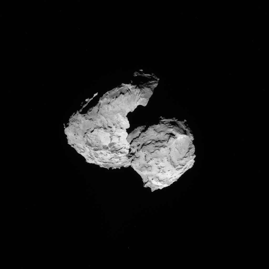 Full-frame NAVCAM image taken on 17 August 2014 from a distance of about 102 km from comet 67P/Churyumov-Gerasimenko. Credits: ESA/Rosetta/NAVCAM