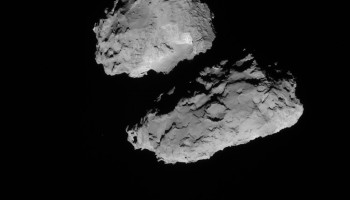 Full-frame NAVCAM image taken on 18 August 2014 from a distance of about 84 km from comet 67P/Churyumov-Gerasimenko. Credits: ESA/Rosetta/NAVCAM