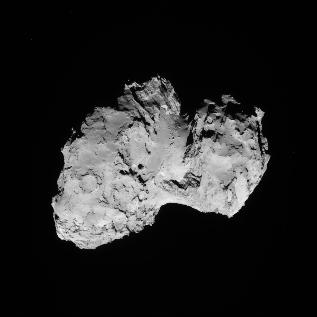 Full-frame NAVCAM image taken on 19 August 2014 from a distance of about 79 km from comet 67P/Churyumov-Gerasimenko. Credits: ESA/Rosetta/NAVCAM