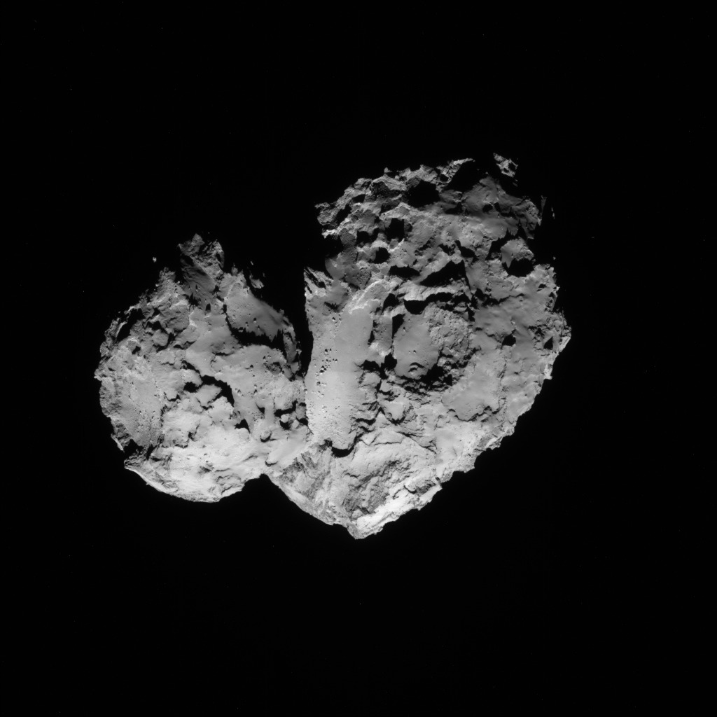 Rosetta navigation camera (NAVCAM) image taken on 20 August 2014 at a distance of about 83 km from comet 67P/C-G. The comet nucleus is about 4 km across.