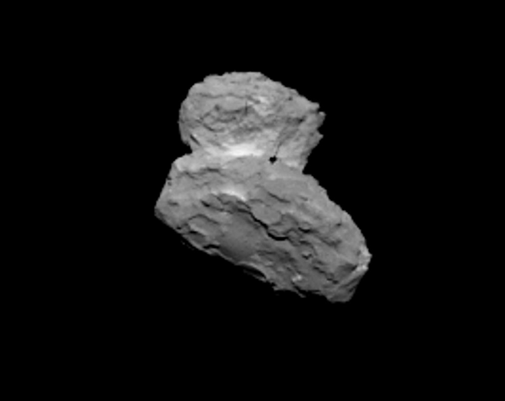OSIRIS narrow angle camera view of 67P/C-G from a distance of 1000 km on 1 August 2014. Credits: ESA/Rosetta/MPS for OSIRIS Team MPS/UPD/LAM/IAA/SSO/INTA/UPM/DASP/IDA