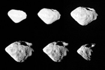 Asteroid Steins seen from a distance of 800 km, taken by the OSIRIS imaging system from two different perspectives during the flyby.  Credits: ESA 2008 MPS for OSIRIS Team MPS/UPD/LAM/IAA/RSSD/INTA/UPM/DASP/IDA