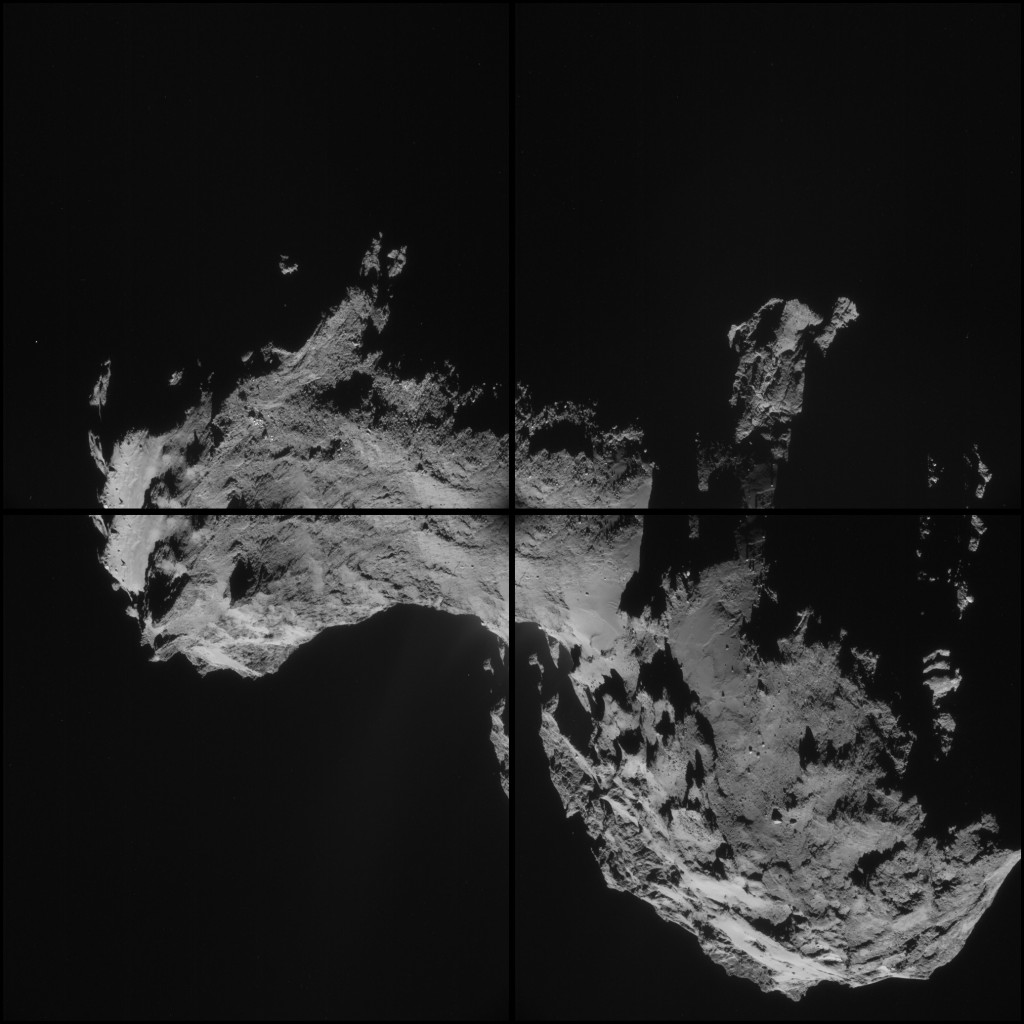 Four image montage of comet 67P/C-G, using images taken on 19 September. The four images are shown separated by black borders and there is some overlap between adjacent frames, so that some features appear in more than one image. Credits: ESA/Rosetta/NAVCAM