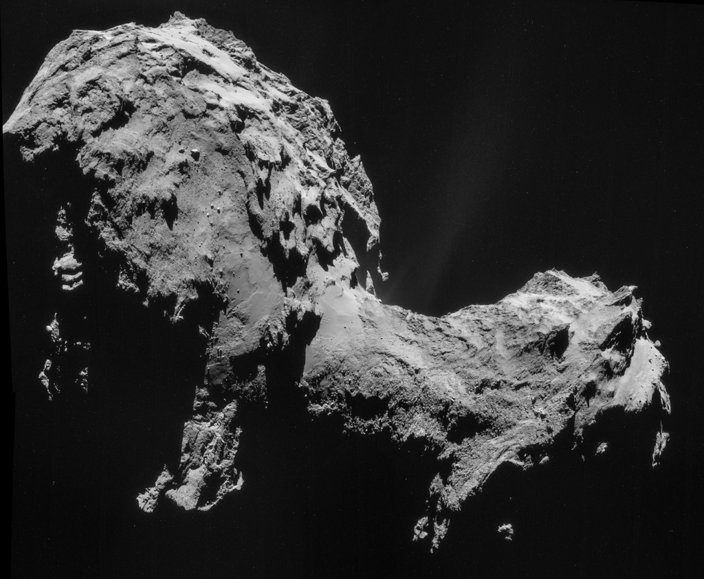 Four image mosaic of comet 67P/C-G, using images taken on 19 September (rotated and cropped). Credit: ESA/Rosetta/NAVCAM