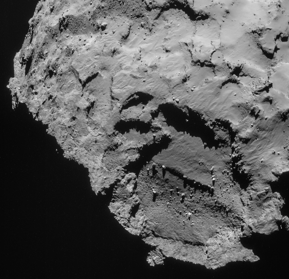 NAVCAM image of the comet on 21 September, which includes primary landing site J. Credits: ESA/Rosetta/NAVCAM