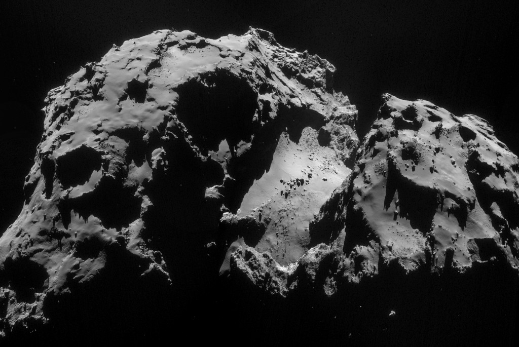 Four image mosaic of Comet 67P/C-G using images taken on 24 September. Credits: ESA/Rosetta/NAVCAM