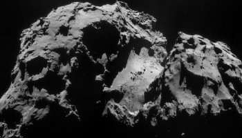 Four image mosaic of Comet 67P/C-G using images taken on 24 September. Credits: ESA/Rosetta/NAVCAM
