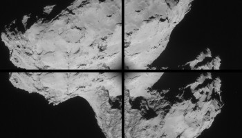 Four image montage of comet 67P/C-G, using images taken on 31 August. Credits: ESA/Rosetta/NAVCAM