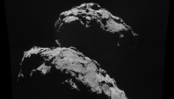 Four image mosaic of comet 67P/C-G, using images taken on 10 September. Credits: ESA/Rosetta/NAVCAM