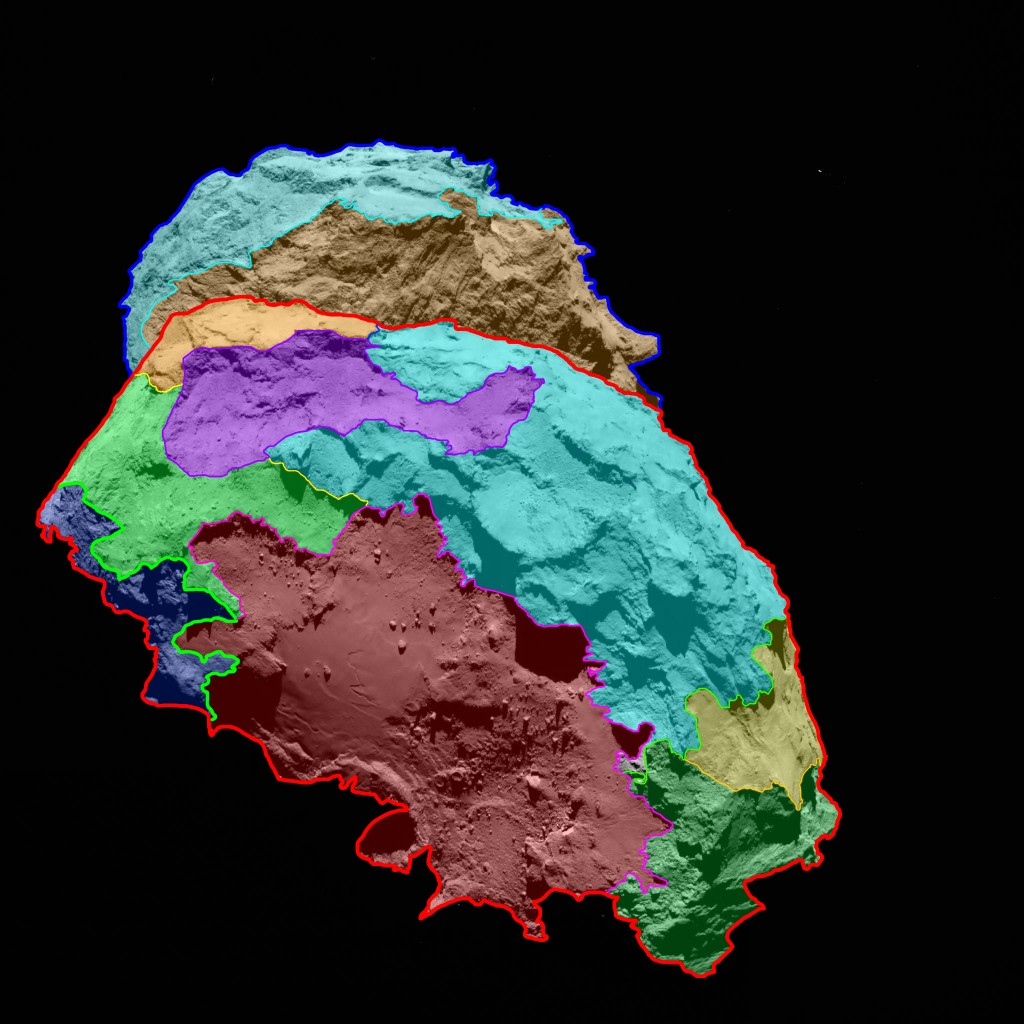 Several morphologically different regions are indicated in this view, which is oriented with the comet's 'body' in the foreground and the 'head' in the background. Credits: ESA/Rosetta/MPS for OSIRIS Team MPS/UPD/LAM/IAA/SSO/INTA/UPM/DASP/IDA