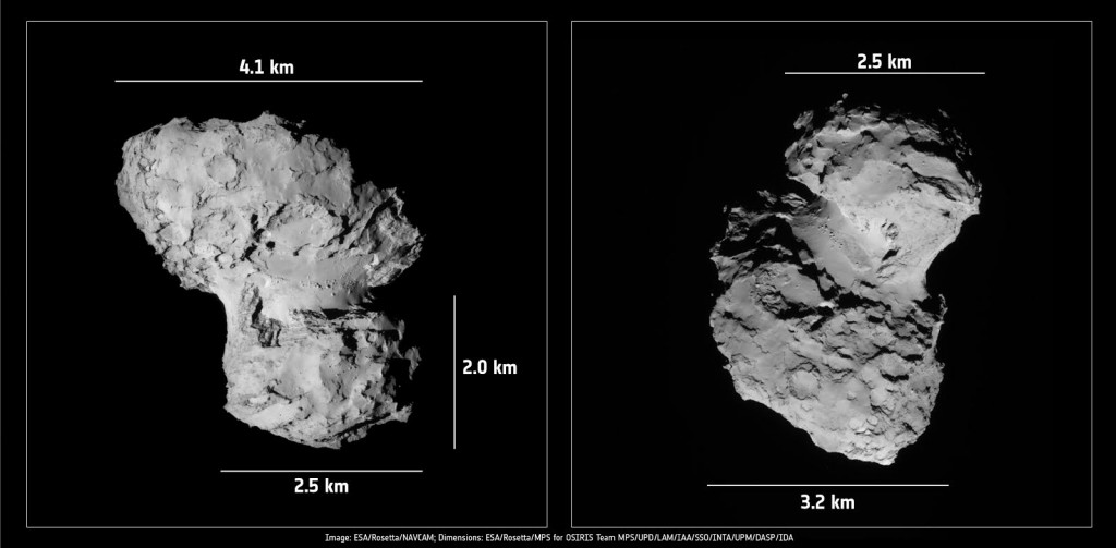 Comet 67P/C-G dimensions. Images: NAVCAM; dimensions: OSIRIS