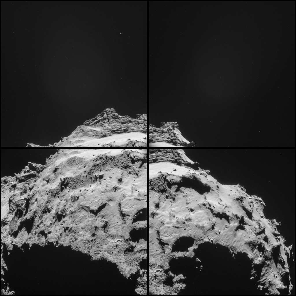 "Four image montage of 67P/C-G taken on 30 September from 18.1 km, and featuring primary site J. Note that a ""feature"" can be seen against the dark sky in the centre of the upper two images of the montage, namely a broad, diffuse region of low-level brightness. Our current thinking is that this is likely due to internal scattering of off-axis light (i.e. the comet itself) in the NAVCAM optics, rather than comet coma emission, but we'll making further checks. Credits: ESA/Rosetta/NAVCAM"