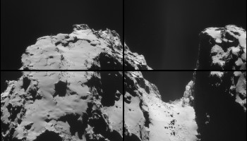 Four image montage of NAVCAM images taken on 2 October. Credits: ESA/Rosetta/NAVCAM