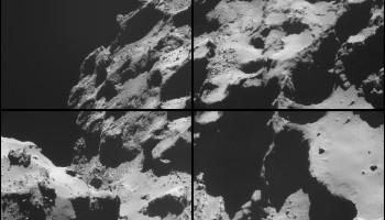 Four image NAVCAM montage comprising images taken on 20 October 2014. Credits: ESA/Rosetta/NAVCAM