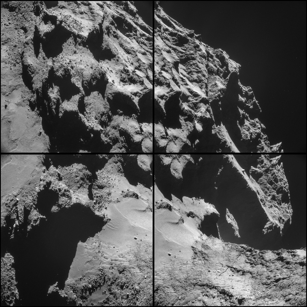 Four image NAVCAM montage comprising images taken on 24 October 2014. Credits: ESA/Rosetta/NAVCAM