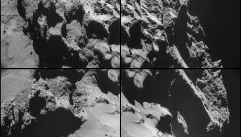 Four image NAVCAM montage comprising images taken on 24 October 2014. Credits: ESA/Rosetta/NAVCAM