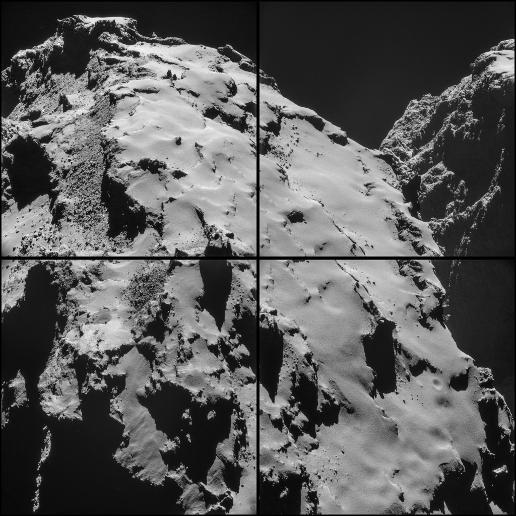 Four-image NAVCAM montage comprising images taken on 28 October. Credits: ESA/Rosetta/NAVCAM