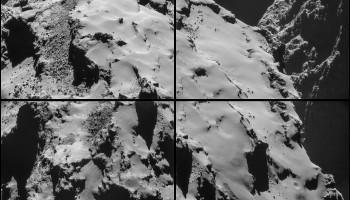 Four-image NAVCAM montage comprising images taken on 28 October. Credits: ESA/Rosetta/NAVCAM