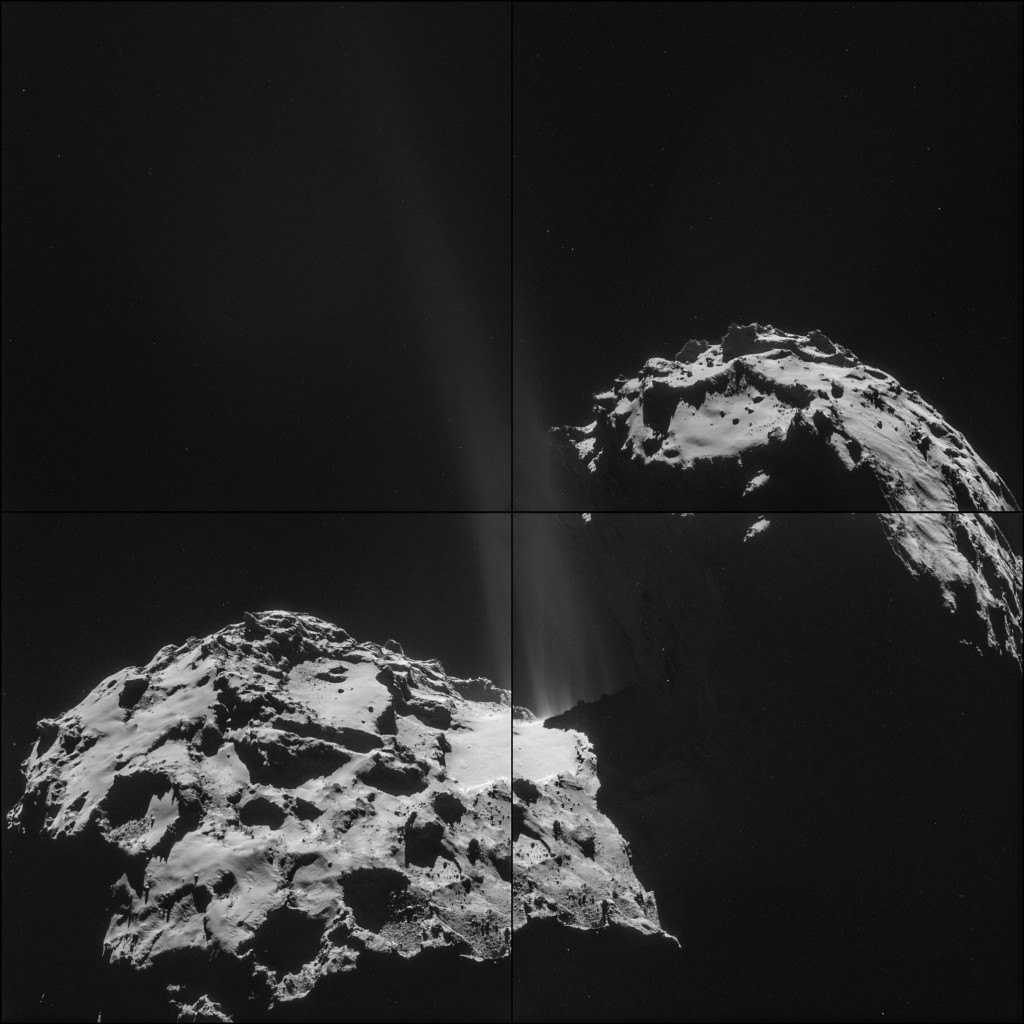 Four image montage of 67P/C-G on 26 September from a distance of 26.3 km. Credit: ESA/Rosetta/NAVCAM