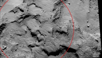 Close-up of the region containing Philae's primary landing site J. The mosaic comprises two images taken by Rosetta's OSIRIS narrow-angle camera on 14 September 2014 from a distance of about 30 km. The image scale is 0.5 m/pixel and the image covers about 1 km square. The circle is centred on the landing site and is approximately 500 m in diameter.  Credits: ESA/Rosetta/MPS for OSIRIS Team MPS/UPD/LAM/IAA/SSO/INTA/UPM/DASP/IDA
