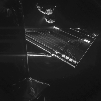 Rosetta's 2014 selfie from a distance of about 16 km from the surface of 67P/C-G. Credits: ESA/Rosetta/Philae/CIVA