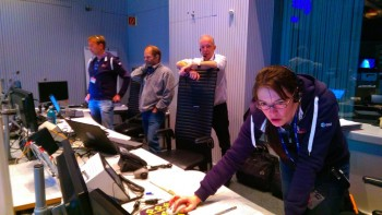 Deputy flight director Elsa Montagnon watching data flow from Philae on the surface of comet 67P/C-G Credit: ESA