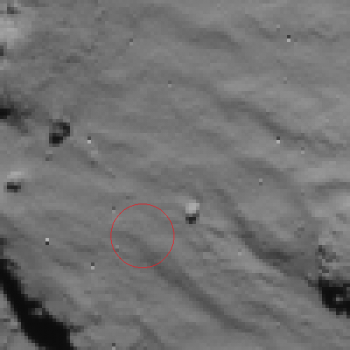 Rosetta NavCam view of Phile first landing site - 2014.11.12.15:30:32 UTC Credit: ESA/Rosetta/NavCam