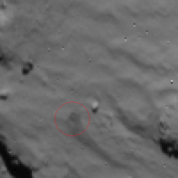 Rosetta NavCam view of Phile first landing site - 2014.11.12.15:35:32 UTC Credit: ESA/Rosetta/NavCam