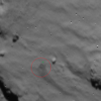 Rosetta NavCam view of Phile first landing site - 2014.11.12.15:35:32 Credit: ESA/Rosetta/NavCam