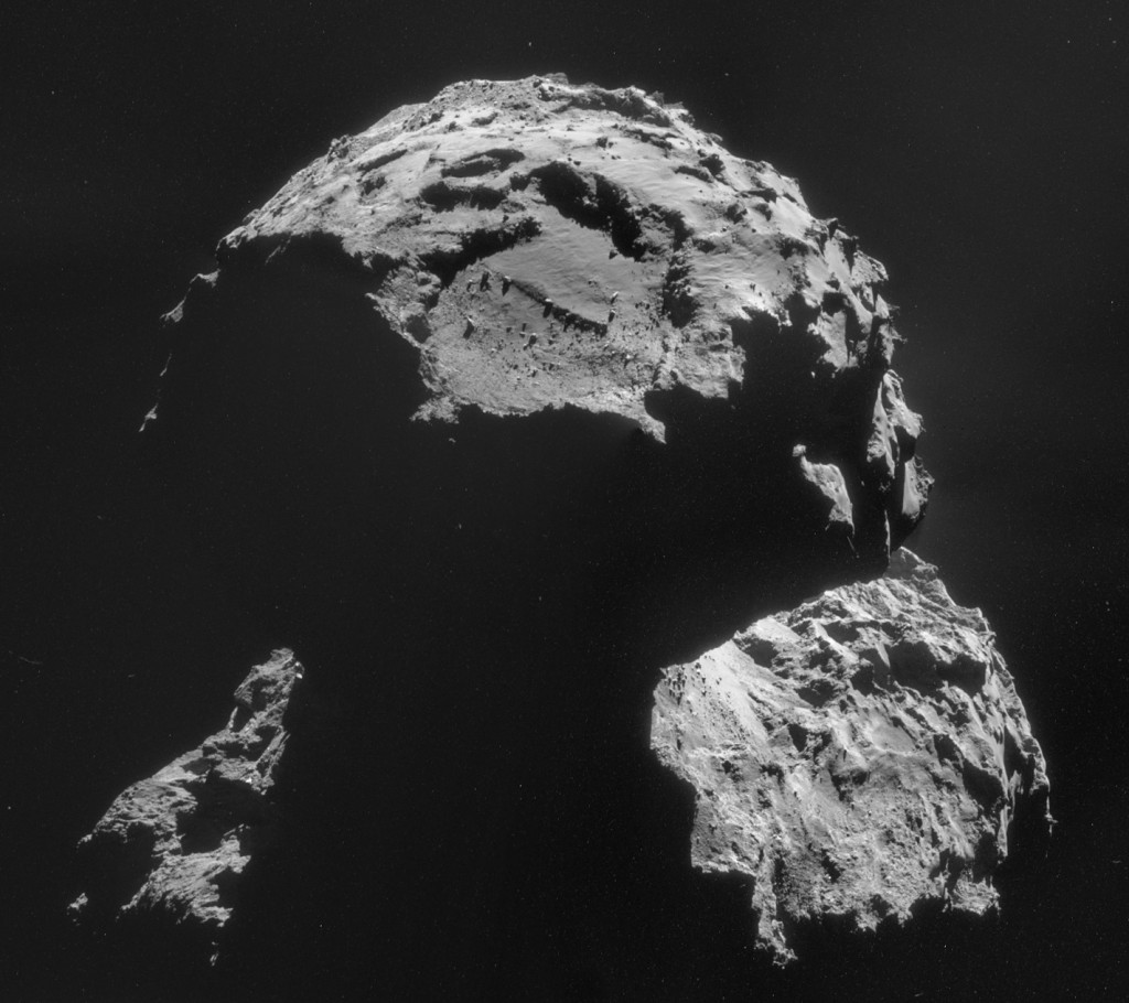 Four image mosaic of Comet 67P/C-G comprising images taken on 6 November. Credits: ESA/Rosetta/NAVCAM – CC BY-SA IGO 3.0