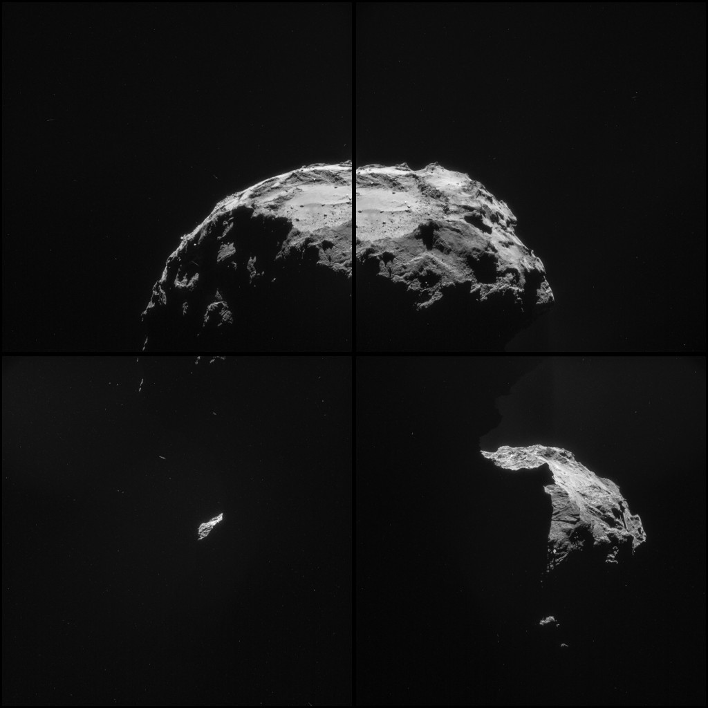 Four image NAVCAM mosaic comprising images of Comet 67P/C-G taken on 20 November. Credits: ESA/Rosetta/NAVCAM – CC BY-SA IGO 3.0