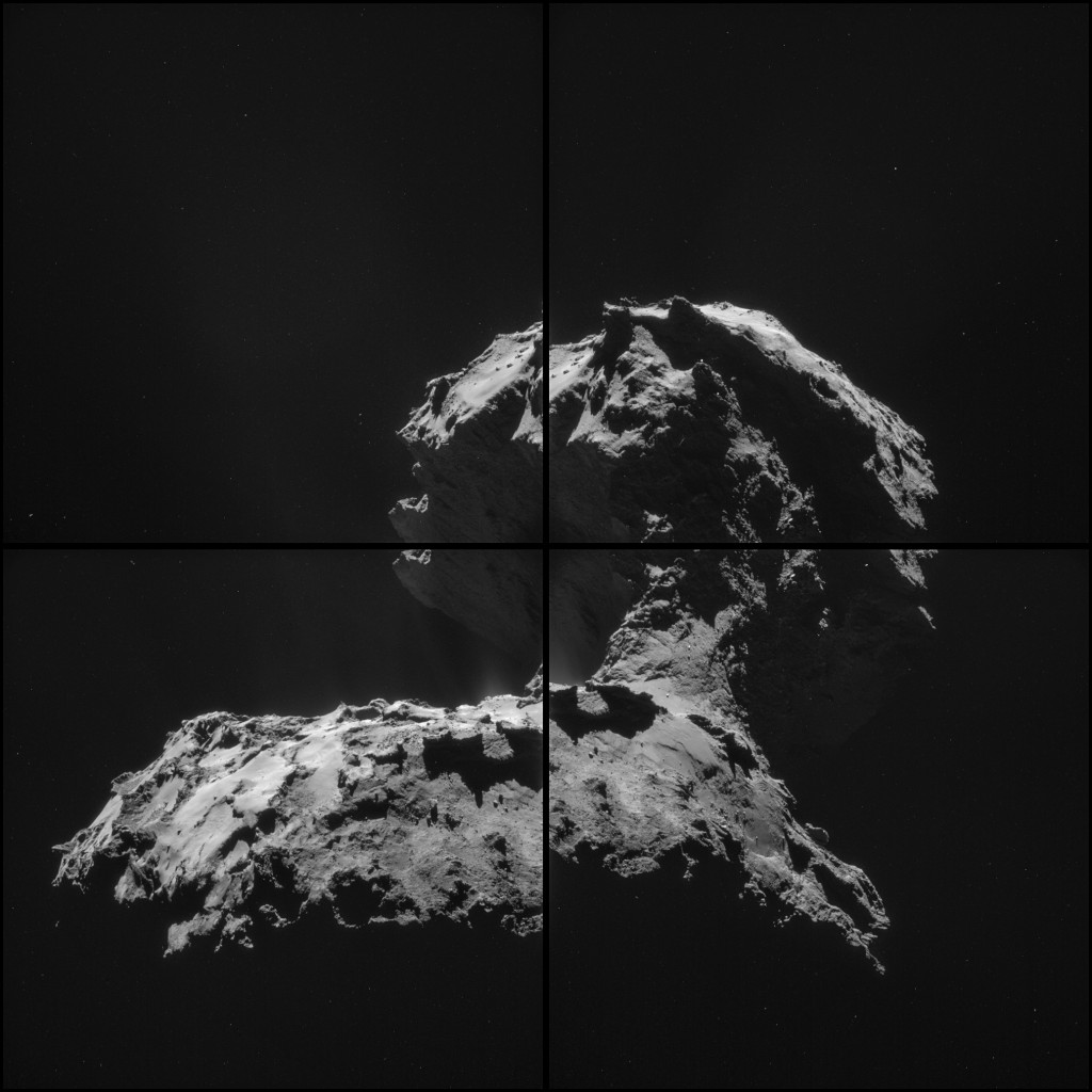 Four image NAVCAM montage comprising images taken on 26 November. Credits: ESA/Rosetta/NAVCAM – CC BY-SA IGO 3.0